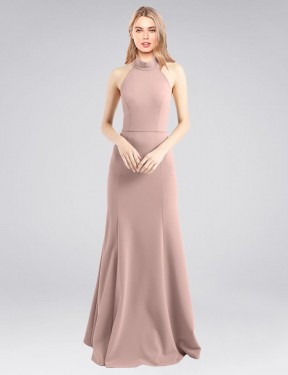 Best Dusty Pink A-Line Stretch Crepe Long Glover Bridesmaid Dress Ottawa