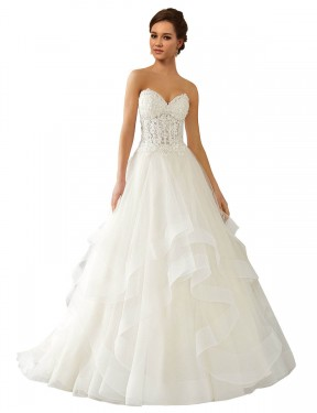Best Ivory Ball Gown Lace & Satin & Tulle Long Reese Wedding Dress Ottawa