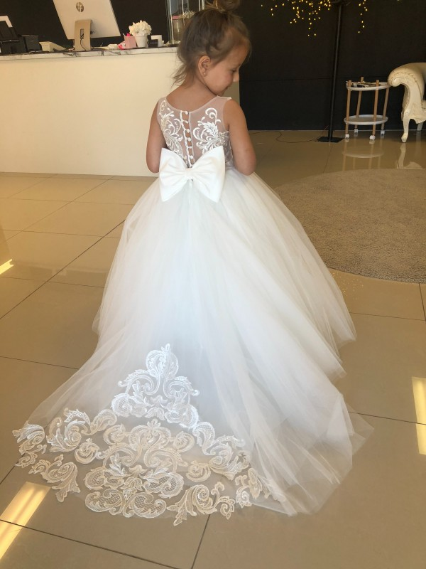 Best Champagne Ball Gown Lace & Tulle Long Flower Girl Dress Ottawa