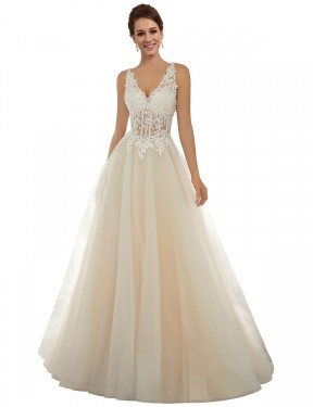 Best Ivory & Champagne A-Line Lace & Tulle Long Amy Wedding Dress Ottawa