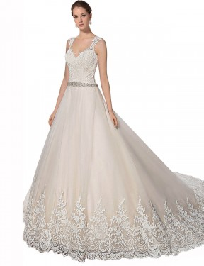Best Ivory & Champagne A-Line Tulle & Lace Long Ember Wedding Dress Ottawa