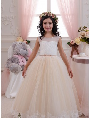 Best Ivory & Champagne Ball Gown Lace & Tulle Long Flower Girl Dress Ottawa