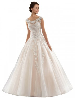 Best Ivory & Champagne Ball Gown Lace & Tulle Long Laila Wedding Dress Ottawa