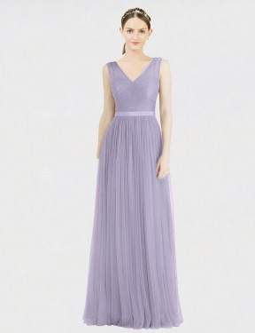 Best Lilac A-Line Tulle Long Tinsley Bridesmaid Dress Ottawa