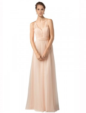Best Nude A-Line Tulle Long Jaliyah Bridesmaid Dress Ottawa