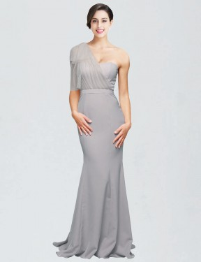 Best Oyster Silver Mermaid Stretch Crepe Long Dominic Bridesmaid Dress Ottawa