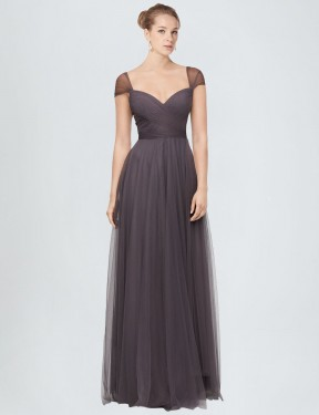 Best Pewter A-Line Tulle Long Alena Bridesmaid Dress Ottawa