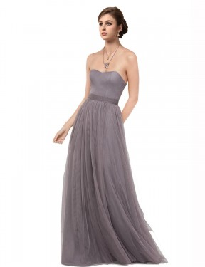 Best Pewter A-Line Tulle Long Emmy Bridesmaid Dress Ottawa