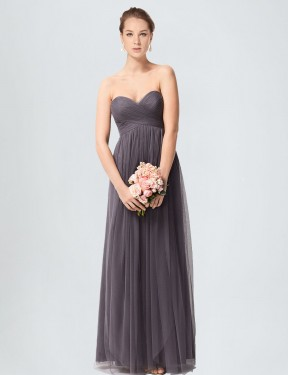 Best Pewter A-Line Tulle Long Kimber Bridesmaid Dress Ottawa