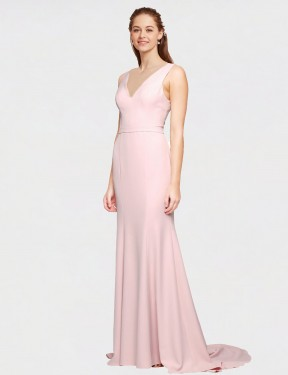 Best Pink A-Line Stretch Crepe Long Polly Bridesmaid Dress Ottawa