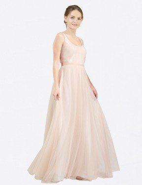 Best Pink A-Line Tulle Long Lily Bridesmaid Dress Ottawa