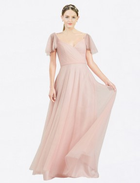 Best Pink A-Line Tulle Long Riley Bridesmaid Dress Ottawa