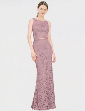 Best Pink Mermaid Fit and Flare Lace Long Calliope Bridesmaid Dress Ottawa