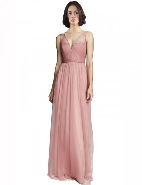 Best Rose Pink A-Line Tulle Long Rayna Bridesmaid Dress Ottawa