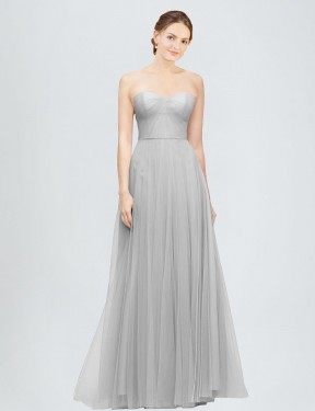 Best Silver A-Line Tulle Long Emory Bridesmaid Dress Ottawa