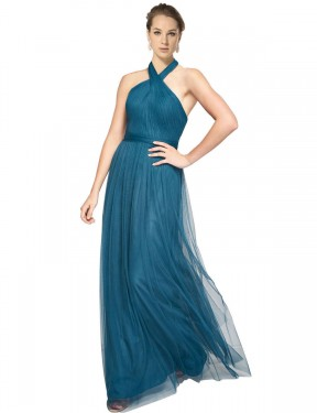 Best Teal Green A-Line Tulle Long Madeline Bridesmaid Dress Ottawa