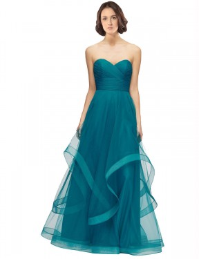 Best Turquoise A-Line Tulle Long Lacey Bridesmaid Dress Ottawa